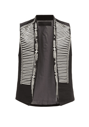 Haider Ackermann - Hand-embroidered Cotton Waistcoat - Mens - Black Multi