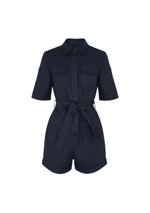 Equipment Paulena Navy Stretch-cotton Playsuit