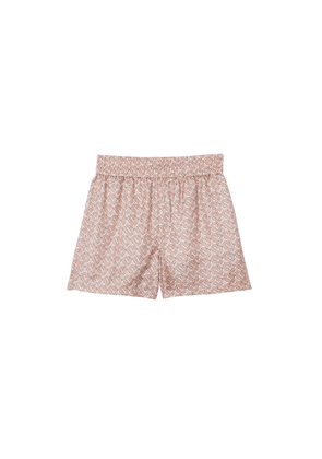 Burberry Monogram Print Silk Twill Shorts