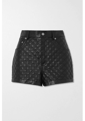SAINT LAURENT - Quilted Padded Leather Shorts - Black