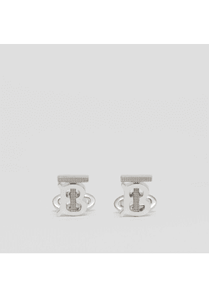 Burberry Studded Monogram Motif Palladium-plated Cufflinks, Grey