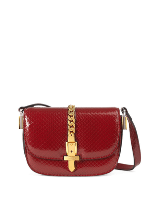 Gucci Sylvie 1969 python mini shoulder bag - Red