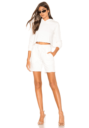 DANIELLE GUIZIO Sweatshort Set in White. Size L,M,XS.