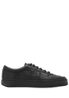 Scuby Logo Embossed Leather Sneakers