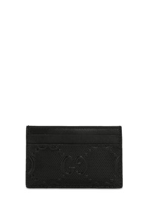 Gg Debossed Leather Card Holder