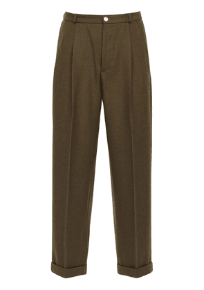 26cm Wool Twill Pants W/ Gold Buttons