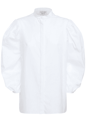 Cotton Poplin Shirt W/ Puff Sleeves
