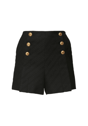 High Waist Cotton Blend Shorts