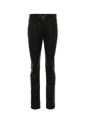 Leather high-rise slim pants