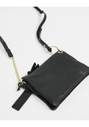 Topshop soft leather cross body bag in black