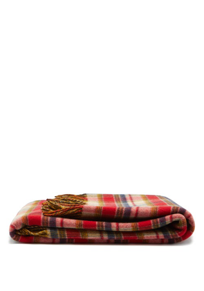 Gucci - GG-jacquard & Check Wool Blanket - Red Multi