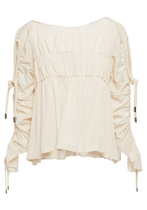 Carven Ruched Taffeta Blouse Woman Ivory Size 38