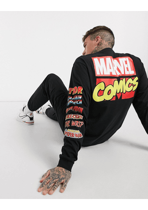 Pull&Bear Marvel long sleeve top with back print-Black