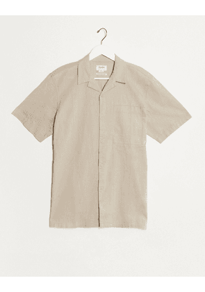 Pull&Bear linen shirt with revere collar in beige-Tan