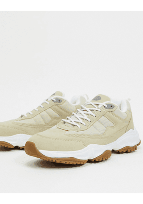 Pull&Bear chunky trainers with contrast sole in beige-White