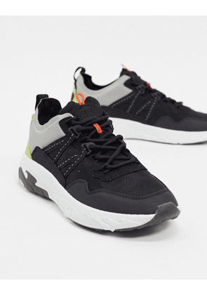 Pull&Bear chunky trainers with tonal panels in black