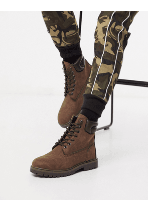 Pull&Bear chunky hiking boots in brown