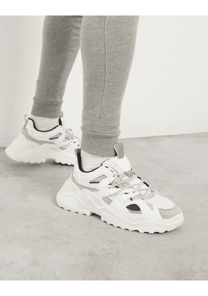 Pull&Bear chunky trainers with contrast panels in off white