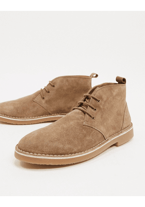 Pull&Bear faux suede lace up boot in sand-Beige