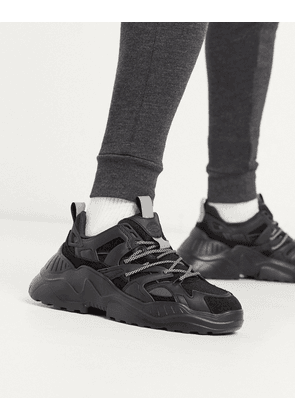 Pull&Bear chunky trainers with iridescent panel in black
