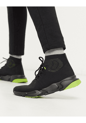 Pull&Bear high-top sock trainers in black with neon green