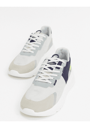 Pull&Bear chunky sole trainer with contrast panels in grey