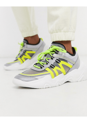 Pull&Bear super chunky trainer with reflective and neon panels in grey