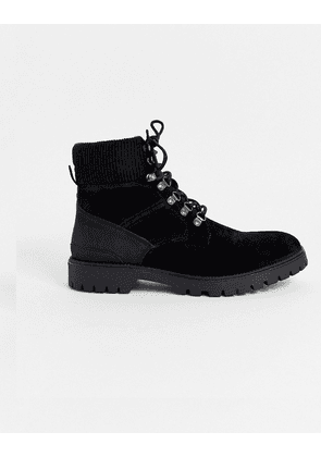 River Island military boot with buckle detail in grey-Tan