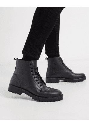 River Island leather lace up boot with chunky sole in black