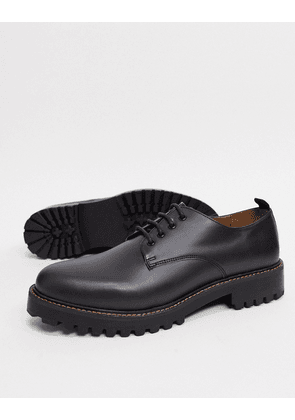 River Island leather lace up shoe with chunky sole in black