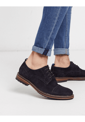 River Island suede derby with toecap in navy