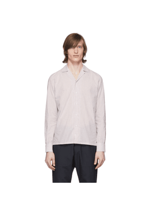 Eidos Burgundy and White Stripe Open Collar Shirt