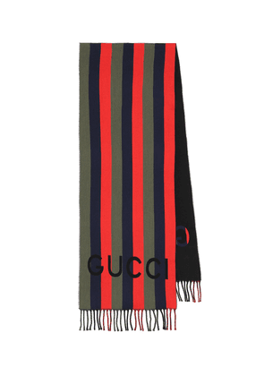 Striped wool and cotton scarf