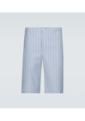 Striped cotton wool mohair shorts