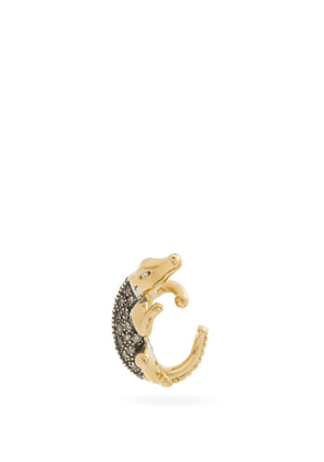Bibi Van Der Velden - Alligator Diamond & 18kt Gold Single Ear Cuff - Womens - Gold