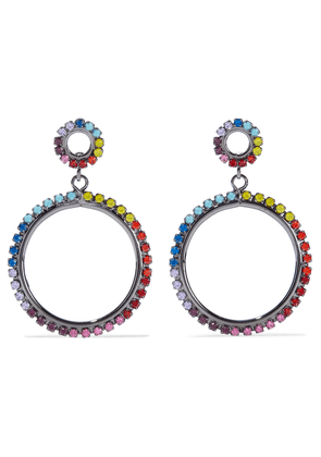 Elizabeth Cole Kinsley Hematite-plated Crystal Hoop Earrings Woman Multicolor Size --