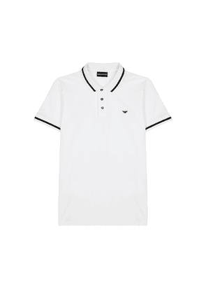 Emporio Armani White Piqué Cotton-blend Polo Shirt