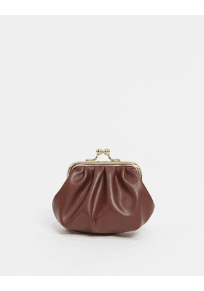 ASOS DESIGN ruched clip frame purse in chocolate brown
