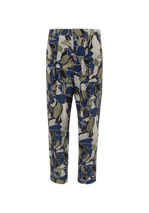 EQUIPMENT - The Original Tapered Cropped Pleated Printed Twill Trousers - Men - Blue