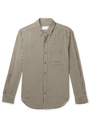 EQUIPMENT - Slim-Fit Striped Twill Shirt - Men - Black