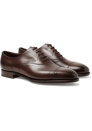 Edward Green - Chelsea Cap-Toe Burnished-Leather Oxford Shoes - Men - Brown