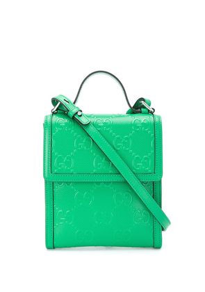 Gucci embossed GG motif messenger bag - Green