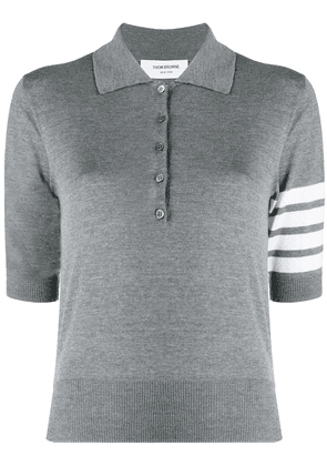 Thom Browne merino polo top with stripe detail - Grey