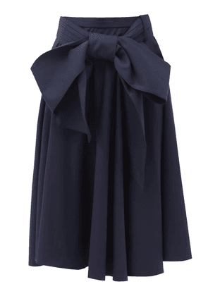 Charles Jeffrey Loverboy - Bow-waist Wool-twill Midi Skirt - Womens - Navy
