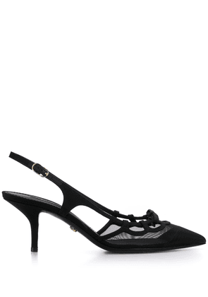 Dolce & Gabbana slingback mesh detailed pumps - Black