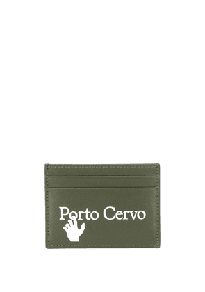 Off-White slogan-print leather cardholder - Green