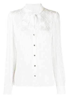 Dolce & Gabbana logo weave silk blouse with pussy bow neck - White