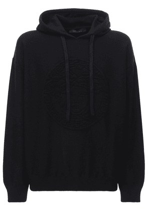 Intarsia Wool & Cashmere Knit Hoodie