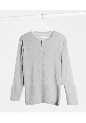 Brave Soul long sleeve button front top in light grey marl