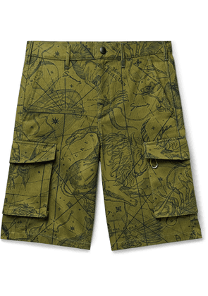 Givenchy - Printed Cotton-Twill Cargo Shorts - Men - Green
